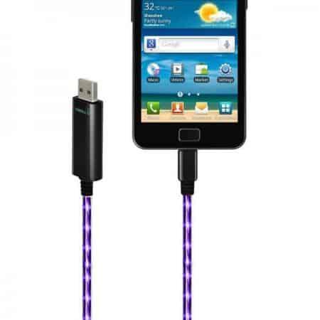 Cable USB VISIBLE GREEN iluminado con conector micro USB